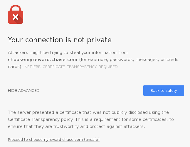 Chrome error page saying that the connection to choosemyreward.chase.com is not private