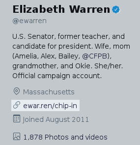 Screenshot of Elizabeth Warren's Twitter bio, showing ewren.ren URL